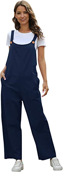 Zylioo Women S Button Closure Loose Fit Overalls With Pockets Wide Straps Cotton Casual Retro Jumpsuits Rompers Amazon Ca Clothing Accessories