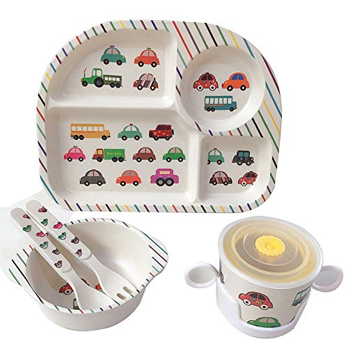 Shopwithgreen 5Pcs/Set Bamboo Kids Dinnerware Set - Children Dishes - Food Plate Bowl Cup Spoon Fork Set Dishware, Cartoon Tableware, Dishwasher Safe Kids Healthy Mealtime, BPA Free (Car)