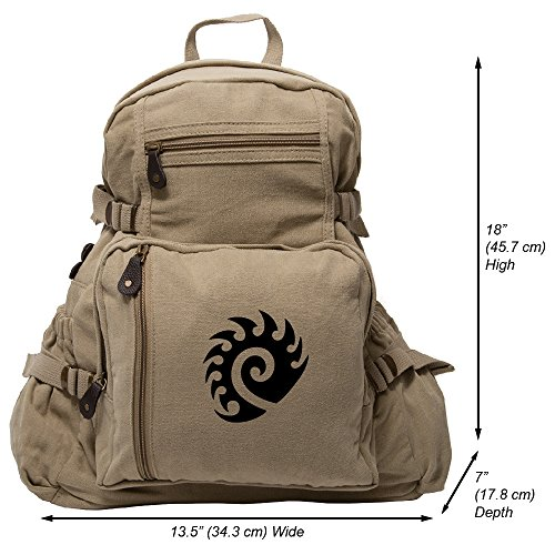 Cheap Starcraft Zerg Heavyweight Canvas Backpack Bag in Khaki & Black, Large