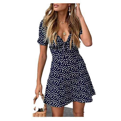 Duseedik Women's Summer Dresses, Ladies Mini A-Line Skirt Short Sleeve Bodycon Beach Party Dot Sundress Dress (L, Navy) ()