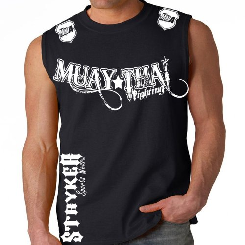 (Muay Thai Fighting Black Muscle Sleeveless Shirt White Logos Tapout MMA UFC Tank Top (Large) )