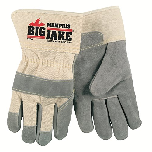 Big Jake Leather (Memphis glove 1700XL Big Jake Cow Leather Sewn Kevlar Gloves with 2-3/4-Inch Safety Cuff, Natural Pearl, X-Large, 1-Pair)