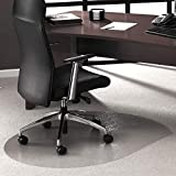 "Floortex Cleartex UltiMat Polycarbonate Chair Mat for Low/Medium Pile Carpets up to 1/2"" Thick, 49"" x 39"", Contoured, Clear (119923SR)"