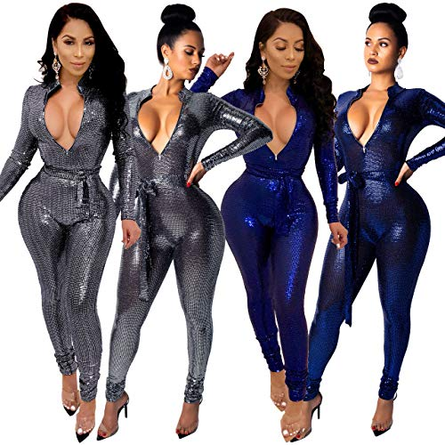d9e5788b603 DingAng Women Sexy Sparkly Sequin Long Sleeve Party Clubwear Romper Jumpsuit