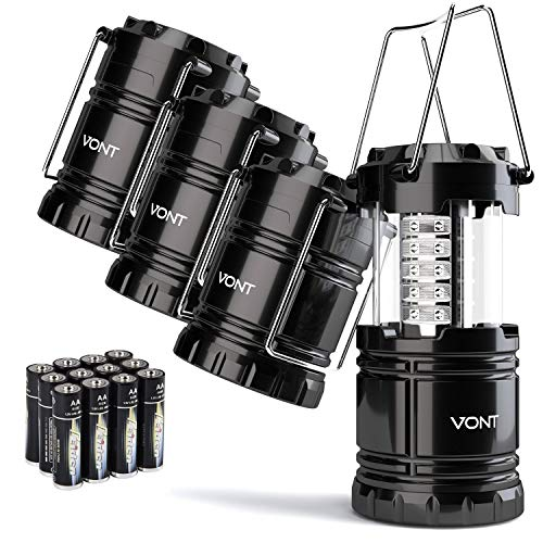 Vont 4 Pack LED Camping Lantern, LED Lantern, Suitable for Survival Kits for Hurricane, Emergency Light, Storm, Outages, Outdoor Portable Lanterns, Black, Collapsible, (Batteries Included) (Renewed)