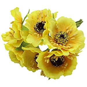 Artificial Poppies Camellia - TOOGOO(R) Silk Poppies Camellia 5cm 60pcs/lot Artificial Flowers Corn Poppy Hand Made Small Wedding Decoration£¨yellow£ 39