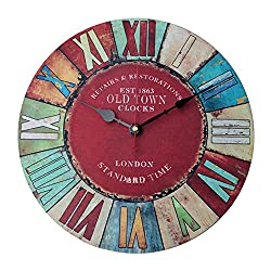 Kaimao 12 Inches Vintage Wooden Wall Clock Chic Shabby and No Tick Feature Perfect for Kitchen Living Room Office
