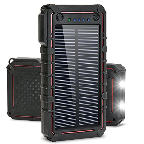Solar Charger, Titita 13500 mAh Solar Power Bank, Waterproof/Shockproof/Dustproof Solar Phone Charger Dual USB Battery Bank with 2 LED Light Carabiner for Emergency Travelling Camping, iPhone, Android by Titita