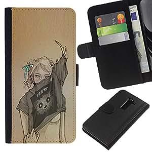 BearCase / Cuero de la tarjeta la carpeta del tirón Smartphone Slots Protección Holder /// LG G2 D800 /// Diseño Arte Mujer Sexy Moda