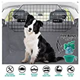 Heavy-Duty Dog Car Barrier, Pet Divider for SUV or Wagons + Free Bonus Collapsible Bowl & Waste Dispenser and Bags, Strong Steel Mesh with Adjustable Panels, Essential Pet Travel Accessories