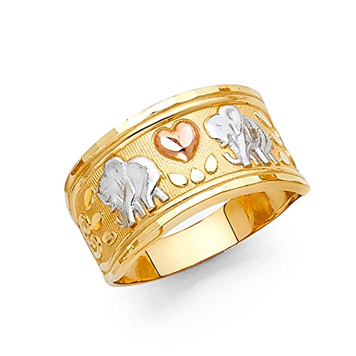 - Elephants Heart Ring Solid 14k Yellow White Rose Gold Band Good Luck Charm Diamond Cut 11MM, Size 6.5