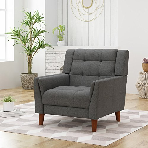 Christopher Knight Home 305540 Evelyn Mid Century Modern Fabric Arm Chair, Dark Gray, Walnut