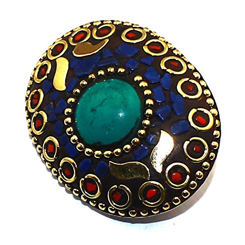 (Tuquoise Coral Nepali 925 Sterling Silver Overlay Brooch Handmade Jewelry Sz4X3)