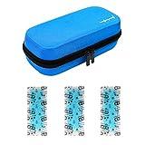 ONEGenug Portable Insulin Cooler Bag Temperature Display Hardshell Waterproof Epipen case Diabetic Organizer Medical Travel Cooler + 3 Ice Chill Packs(Blue)