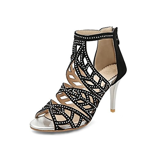 Office hebilla sandalias Zapatos comodidad negro polipiel Fiesta Almond de noche de mujer verano cumpleaños Open toe Stiletto para ZHZNVX Carrera talón OPfSf