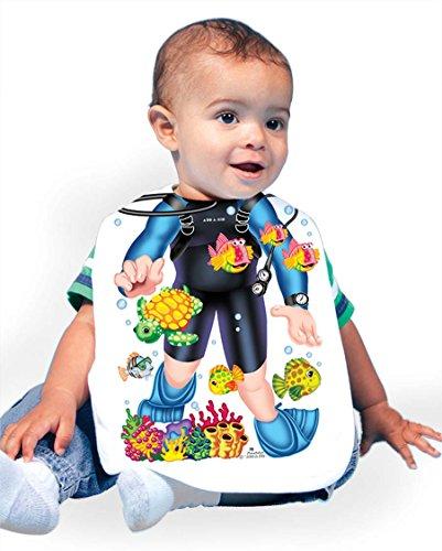 (Just Add A Kid Baby Boy's Scuba Diver Boy 078 Baby Bib 0-6 Months)