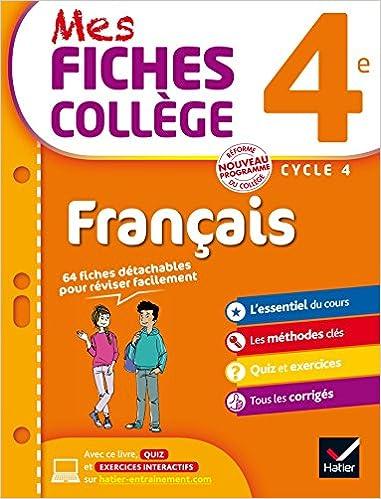 Amazon Com Mes Fiches College Francais 4e 40 Fiches De Revision Et 120 Exercices Corriges French Edition 9782218997846 Ricard Helene Verrier Matthieu Books