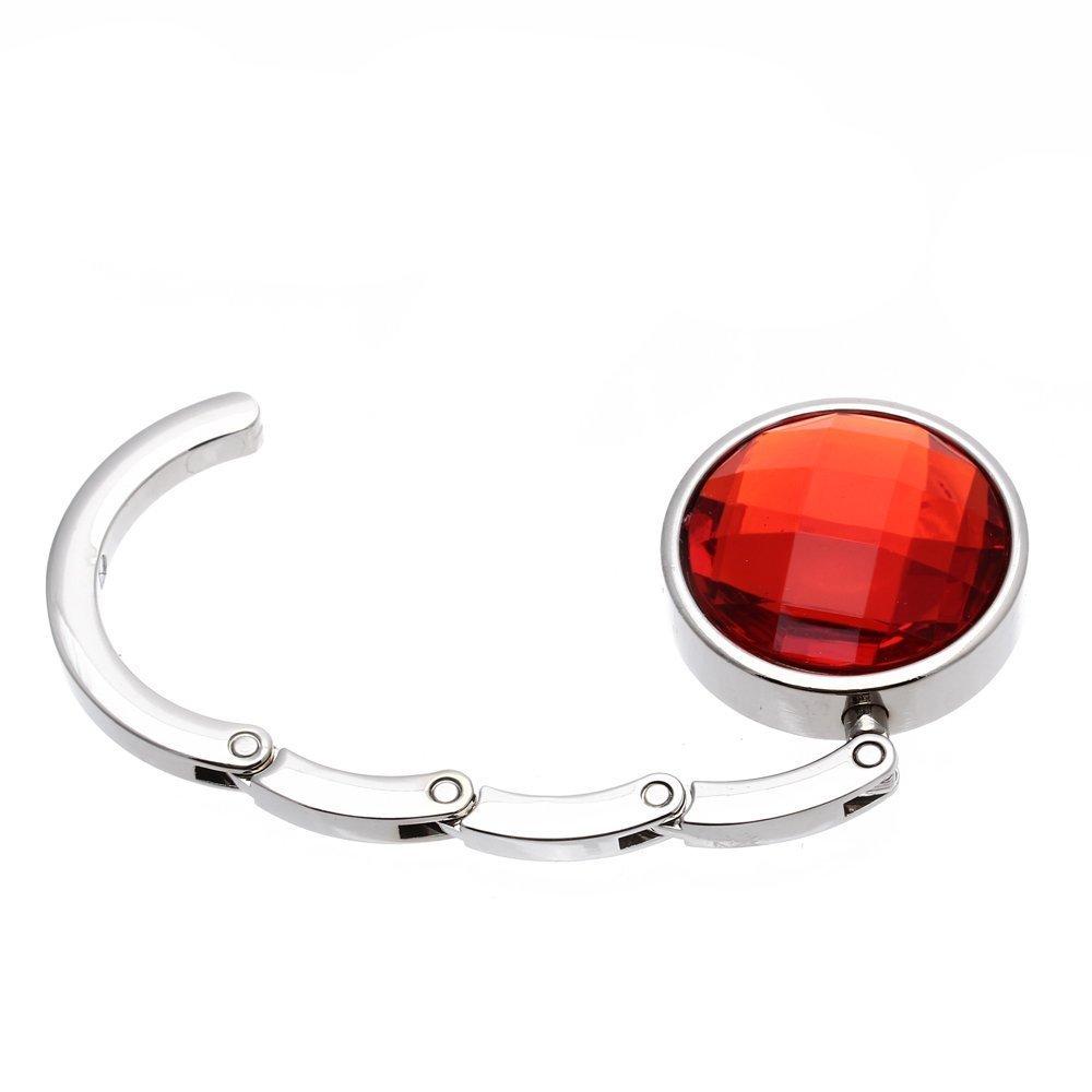 Attache//Crochet pliant de sac A main en cristal portable pour les femmes rouge R SODIAL