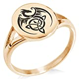 Rose Gold Plated Stainless Steel Celtic Dragon Triquetra Symbol Minimalist Oval Top Polished Statement Ring, Size 7