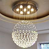 Cheap Linght W23.6″ X H35.5″ Round Contemporary Crystal Chandelier Sphere Design Rain Drop Ceiling Light Fixture