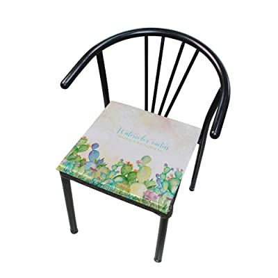 "Bardic HNTGHX Outdoor/Indoor Chair Cushion Watercolor Summer Cactus Square Memory Foam Seat Pads Cushion for Patio Dining, 16"" x 16"": Home & Kitchen"