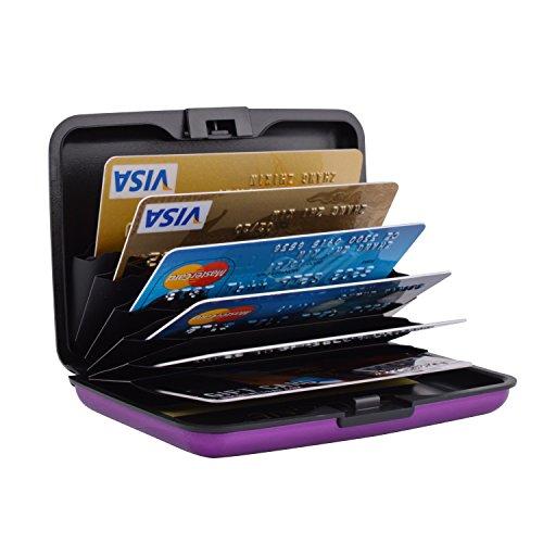 MaxGear RFID Credit Card Holder for Women RFID Credit Card Wallet Protector Metal Credit Card Case Holder Purple