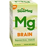 SlowMag Mg Brain Magnesium Citrate + Vitamin B2 Supplement, 60 Count