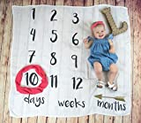 """Age Milestone Swaddle Blanket with Days Weeks and Months   Month to Month   Monthly Infant Blanket   Infant Photography   Extra Soft 70% Bamboo 30% Cotton   47"""" x 47""""  Stroller Nursing Cover"""