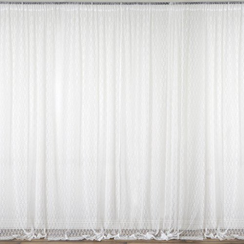 BalsaCircle 10 feet x 10 feet Ivory Sheer Lace Backdrop Drapes Curtains Panels - Wedding Ceremony Party Home Window ()