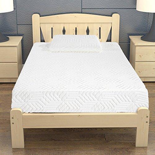 "10"" Memory Foam Mattress Three Layers Cool Medium High Softness Cotton Mattress w/2 Pillows (Twin Size) White from yis-henson"