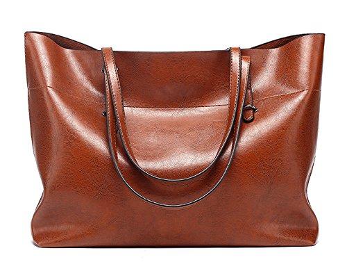 FNTSIC Women's PU Leather Handbags Elegant Ladies Shoulder Bags Classic Tote Bags Top-Handle Bags Large Capacity Shopping Bags (Large - Dark red) Large - Brown