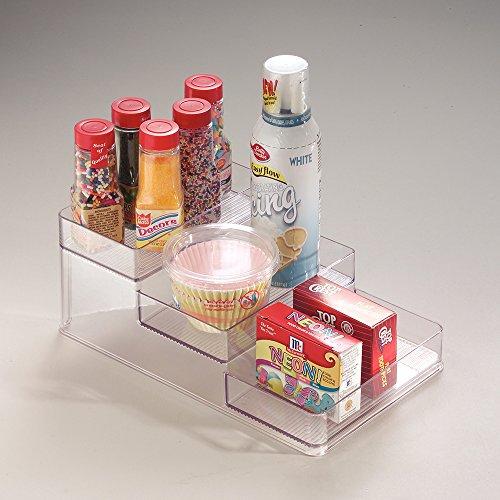 InterDesign Linus Spice Organizer Rack – 3-Tiered Storage for Kitchen, Pantry, Cabinet or Countertops - Medium, Clear
