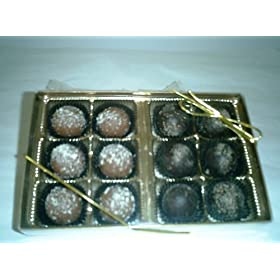 Champagne and Rum Chocolate Flavored Truffles Gift Box (12 Pcs)