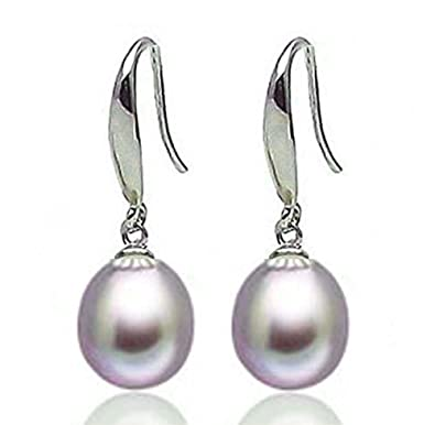 findout ladies sterling silver natural freshwater pearls 8-10mm water drop earrings , for women girls .