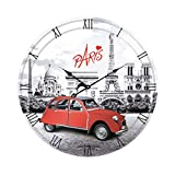 Paris Eiffel Tower and Red Car Round Wall Clock 11″ Review