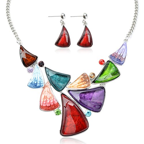 Ginasy Vintage Costume Jewelry Acrylic Resin Charm Stone Necklace Earring Set Jewelry Set (Fishtail Colorful)