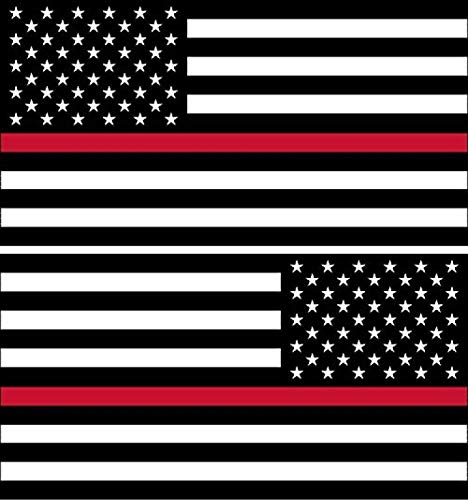 Sticker American Flag Subdued Thin RED Line (Left-Right) USA Military Soldiers Ranger Rock Metal Heavy Decal Laptop Car Window Door Wall Motorcycle Helmet Set size 3