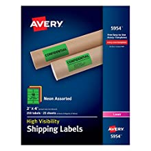 """Avery High-Visibility Neon Shipping Labels for Laser Printers 2"""" x 4"""", Assorted Colors, Box of 250 (5954)"""