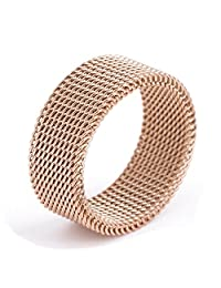 18K Rose Gold Circle Woven Mesh Rings For Women Men Jewelry Stainless Steel Wedding Rings Size 6 to 10