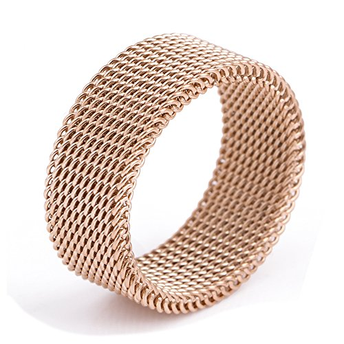 18K-rose-gold-stainless-steel Circle Woven Mesh Rings For Women Men Jewelry Wedding Rings Size 6 to 10 (Band Mesh Ring)