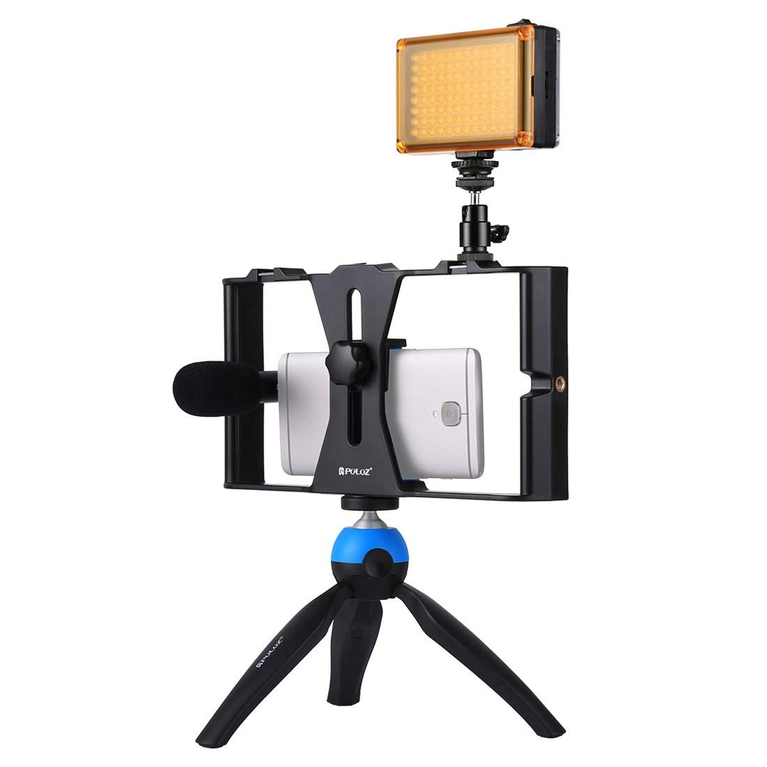 Docooler Smartphone Video Kit, Grip Rig + 96 LED Studio Light + Video Microphone + Mini Tripod Mount with Cold Shoe Tripod Head for Video Shooting Live Broadcast for iPhone Samsung Galaxy Huawei