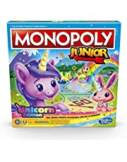 Monopoly Junior: Unicorn Edition Board Game for 2-4 Players, Magical-Themed Indoor Game for Kids Ages 5 and Up, English