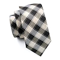 Hi-Tie Mens Classic Plaid Necktie Set include Hanky Cufflinks