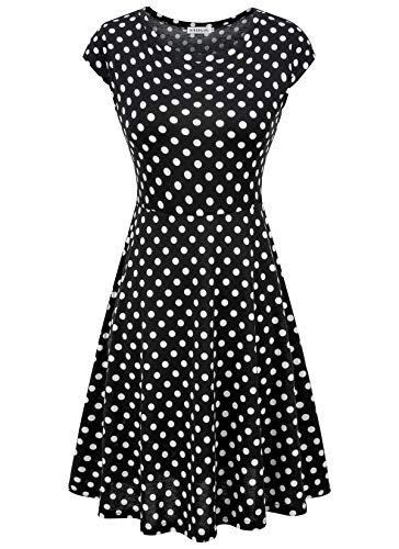 - HIKA Women's Casual Elegant A Line Short Cap Sleeve Round Neck Dress (Large, Polka dot-1)