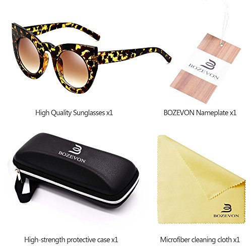 à Eyewear Lens Mode BOZEVON de de oeil soleil Party Jaune marron chat Cute Lunettes Ambre Gradient Rétro féminine Color ZwdCw0q