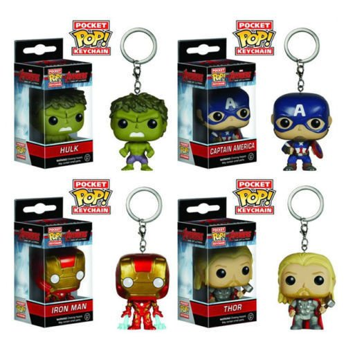 Bundle - 4 Products: Funko Pop Marvel Avengers 2 Keychains: Iron Man Captain America Hulk Thor