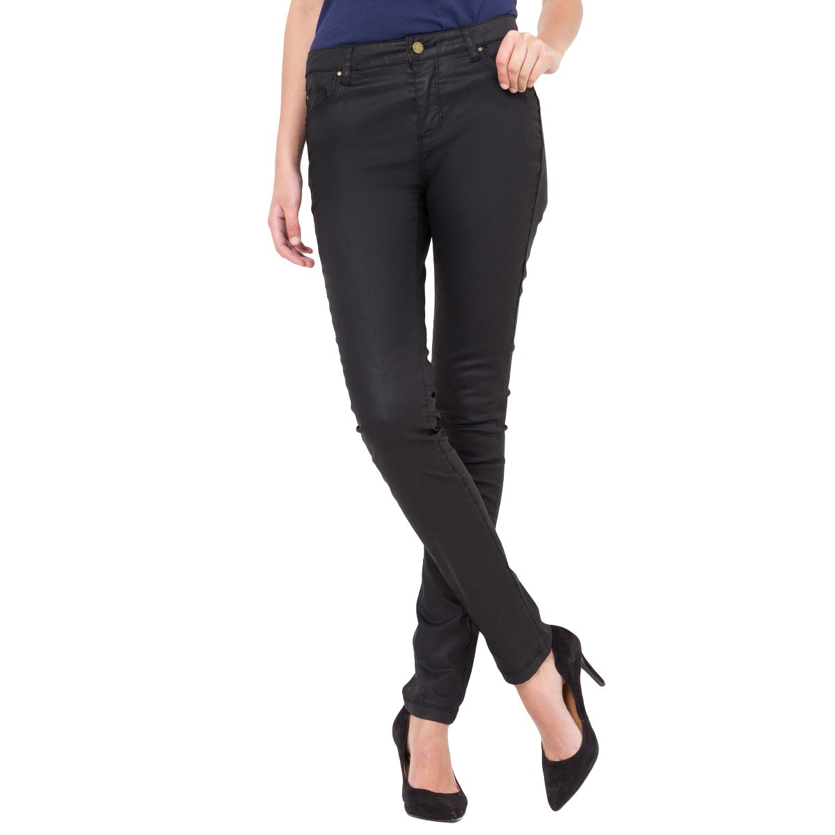 La Redoute Collections Womens Slim-Fit Coated Trousers, Length 32.5 Black Size Us 12 - Fr 42