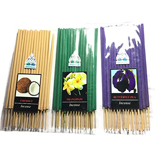 3 Pcs 90 STICKS (COCONUT,FRANGIPANI,BUTTERFLY PEA) INCENSE STICK AROMA FRAGRANCE PREMIUM WOODS SCENT NATURAL