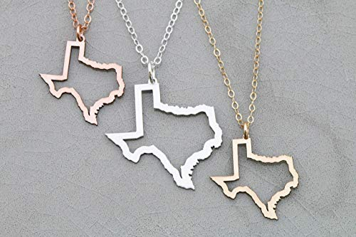 (Texas State Outline Necklace - IBD - Lone Star Territory Pendant - Chain Length Options -Customize Charm Size - Ships in 1 Business Day - 935 Sterling Silver 14K Rose Gold Filled Charm)