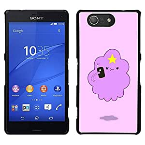 // PHONE CASE GIFT // Duro Estuche protector PC Cáscara Plástico Carcasa Funda Hard Protective Case for Sony Xperia Z3 Compact / pink cloud funny star cute creature /